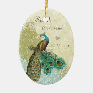Ornement Ovale En Céramique Domestique vintage d'oiseau de Peacocl des