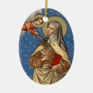 Ornement Ovale En Céramique Double image St Teresa d'ovale d'Avila (SAU 28)