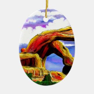 Ornement Ovale En Céramique Double peinture de paysage de voûte