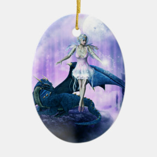 Ornement Ovale En Céramique Dragon et fée