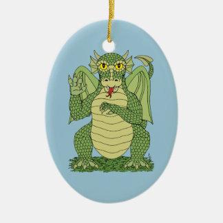 Ornement Ovale En Céramique Dragon mignon