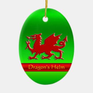 Ornement Ovale En Céramique dragon rouge de Graver en refief-regard sur le