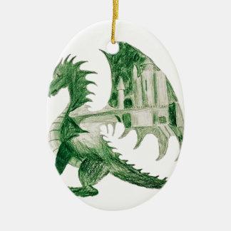 Ornement Ovale En Céramique Dragon vert