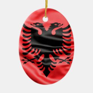 Ornement Ovale En Céramique Drapeau albanais