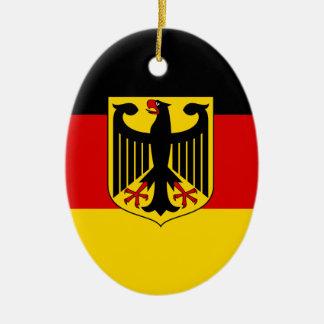 Ornement Ovale En Céramique Drapeau allemand