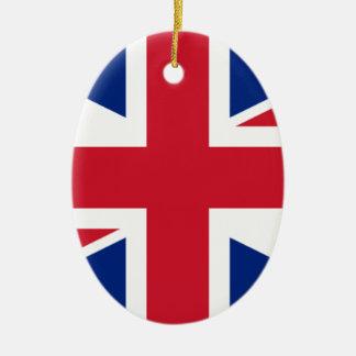 """Ornement Ovale En Céramique Drapeau BRITANNIQUE """"Union Jack """" du Royaume-Uni"""