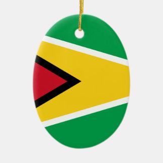 Ornement Ovale En Céramique Drapeau de la Guyane