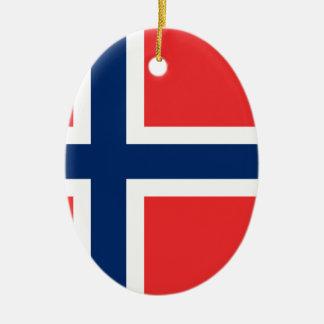 Ornement Ovale En Céramique Drapeau de la Norvège
