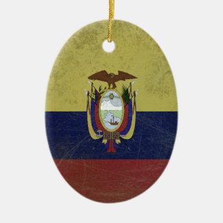 Ornement Ovale En Céramique Drapeau de l'équateur