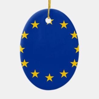 Ornement Ovale En Céramique Drapeau de l'Europe, drapeau européen