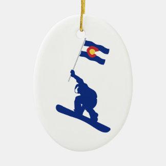 Ornement Ovale En Céramique Drapeau de surf des neiges du Colorado
