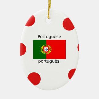 Ornement Ovale En Céramique Drapeau du Portugal et conception portugaise de