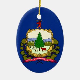 Ornement Ovale En Céramique Drapeau du Vermont