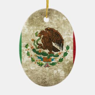 Ornement Ovale En Céramique Drapeau mexicain