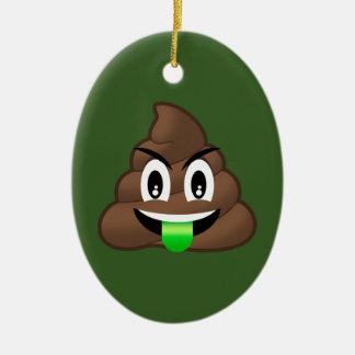 Ornement Ovale En Céramique Dunette folle Emoji de langue verte