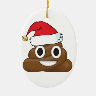 Ornement Ovale En Céramique Dunette hilare Emoji de Noël
