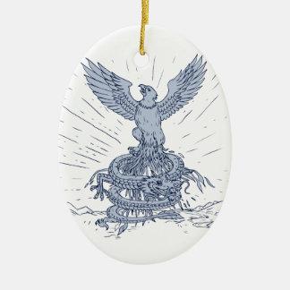 Ornement Ovale En Céramique Eagle et dessin de montagnes de dragon