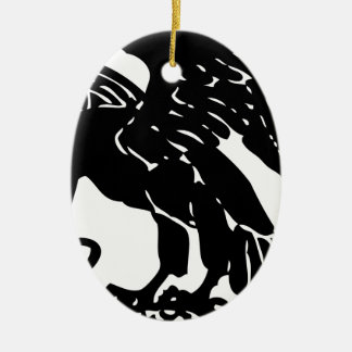 Ornement Ovale En Céramique Eagle et serpent