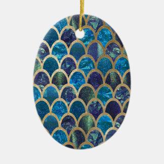 Ornement Ovale En Céramique Échelles turquoises de sirène