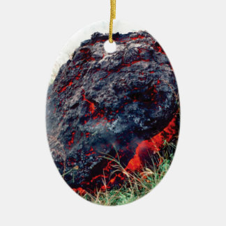 Ornement Ovale En Céramique éclat du feu et de flamme