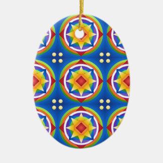 Ornement Ovale En Céramique Édredon de mandala d'arc-en-ciel