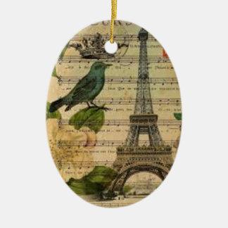 Ornement Ovale En Céramique Eiffel Tower vintage Paris
