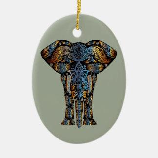 Ornement Ovale En Céramique Éléphant d'Asie
