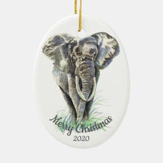Ornement Ovale En Céramique Éléphant daté d'aquarelle de Noël de coutume