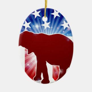 Ornement Ovale En Céramique Éléphant politique de républicain de mascotte