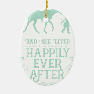 Ornement Ovale En Céramique Elle a vécu heureusement pour toujours cheval
