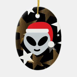 Ornement Ovale En Céramique emoji d'alien de père Noël