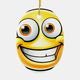 Ornement Ovale En Céramique Émoticône heureuse d'Emoji