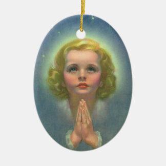 Ornement Ovale En Céramique Enfants religieux vintages, fille avec la prière