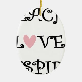 Ornement Ovale En Céramique enseignez l'amour inspirent