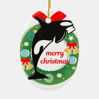 Ornement Ovale En Céramique épaulard de Joyeux Noël