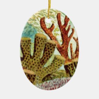 Ornement Ovale En Céramique éponges et corail
