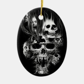 Ornement Ovale En Céramique Epouvante d'Halloween -