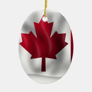 Ornement Ovale En Céramique Érable canadien de feuille d'emblème de pays de