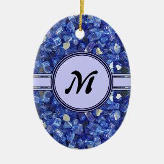 Ornement Ovale En Céramique Étincelle en verre bleue de monogramme de cristaux