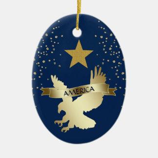 Ornement Ovale En Céramique Étoile américaine Eagle d'or