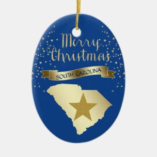 Ornement Ovale En Céramique Étoile bleue de la Caroline du Sud d'or