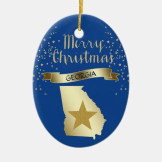 Ornement Ovale En Céramique Étoile bleue de la Géorgie d'or