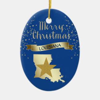 Ornement Ovale En Céramique Étoile bleue de la Louisiane d'or