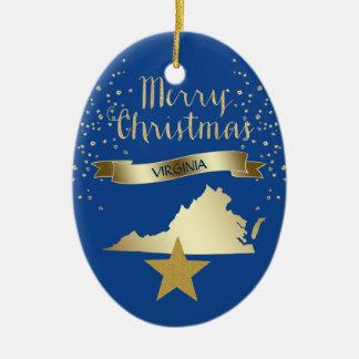 Ornement Ovale En Céramique Étoile bleue de la Virginie d'or