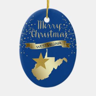 Ornement Ovale En Céramique Étoile bleue de la Virginie Occidentale d'or