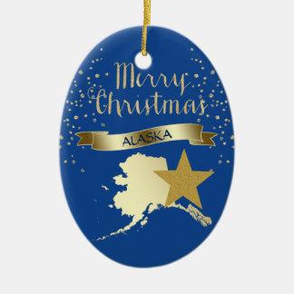 Ornement Ovale En Céramique Étoile bleue de l'Alaska d'or