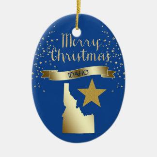 Ornement Ovale En Céramique Étoile bleue de l'Idaho d'or