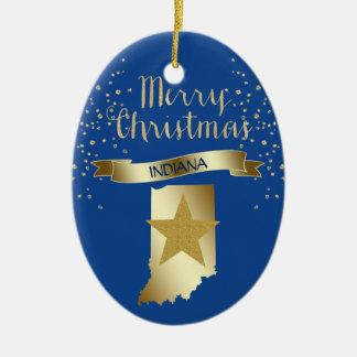 Ornement Ovale En Céramique Étoile bleue de l'Indiana d'or