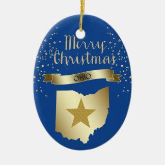 Ornement Ovale En Céramique Étoile bleue de l'Ohio d'or
