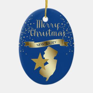 Ornement Ovale En Céramique Étoile bleue de New Jersey d'or